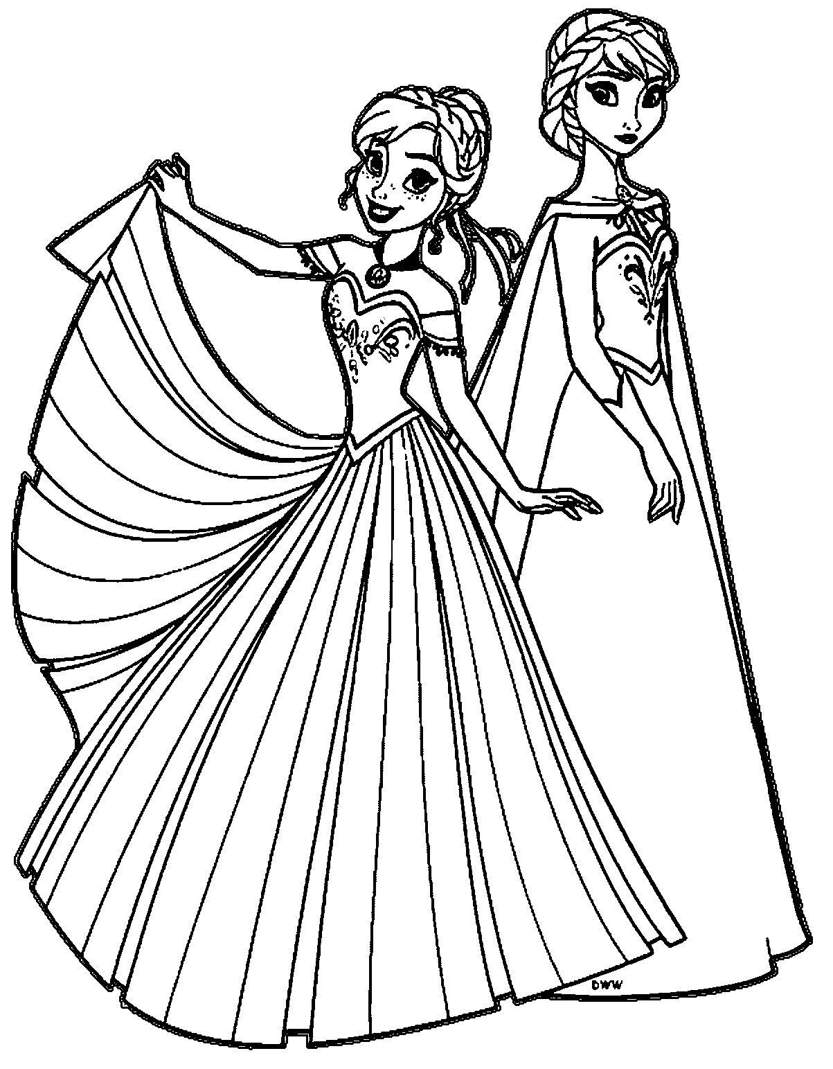Tranh Tô Màu Elsa Và Anna 13