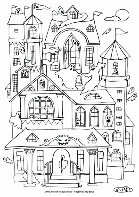 Halloween Coloring Pages Haunted House 1