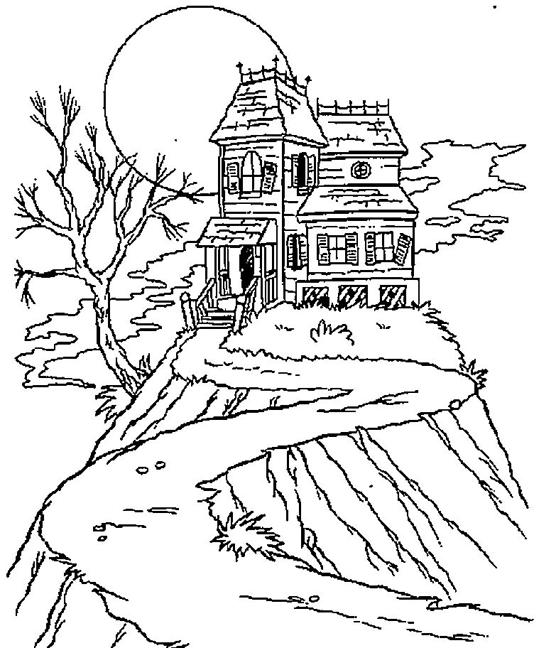 Halloween Coloring Pages Haunted House 10
