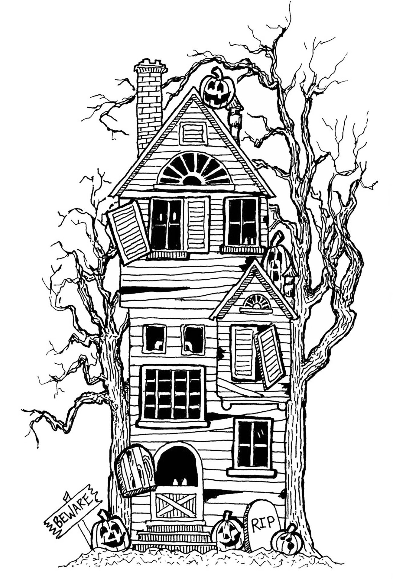 Halloween coloring pages haunted house 11