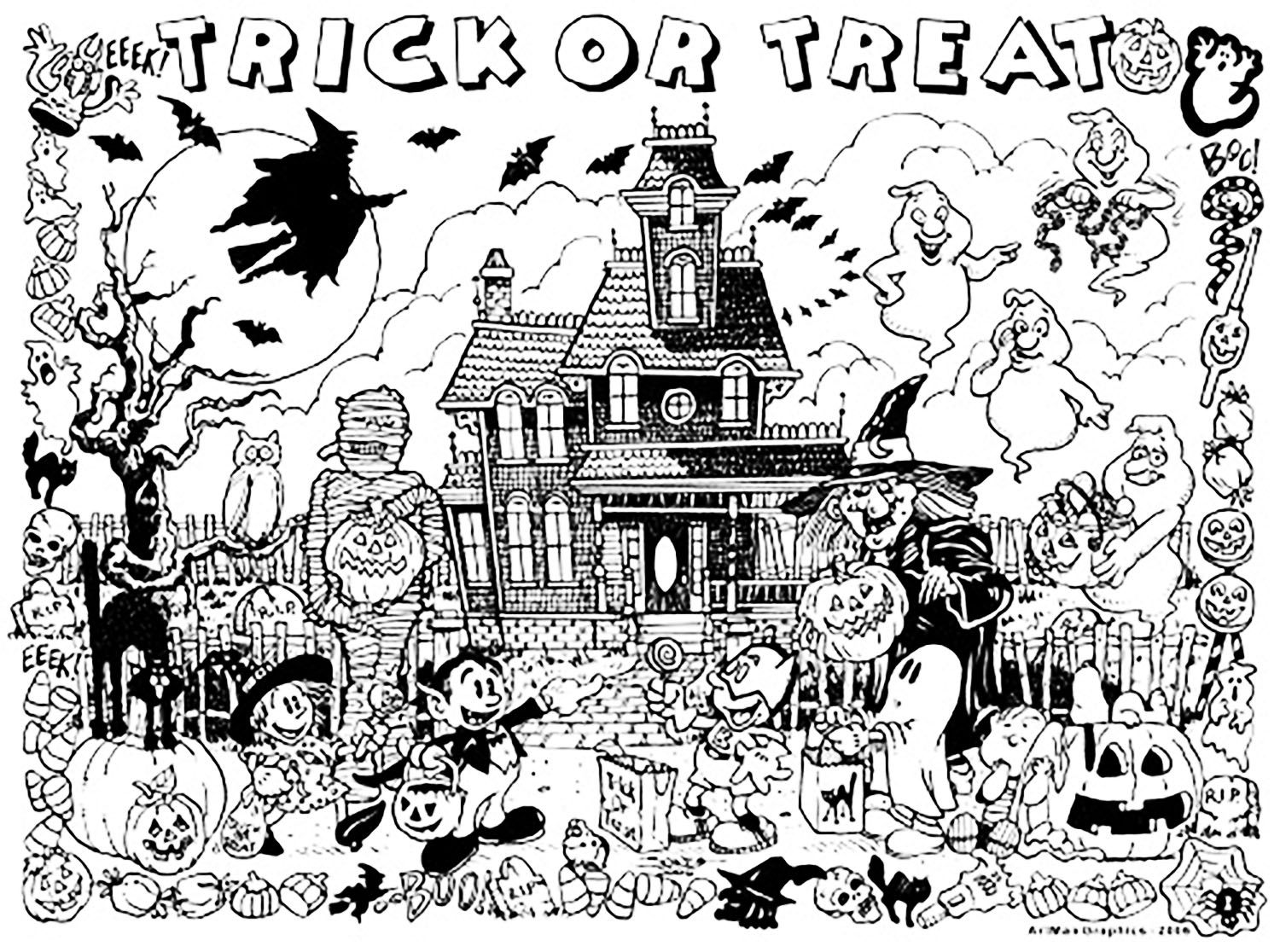 Halloween Coloring Pages Haunted House 12