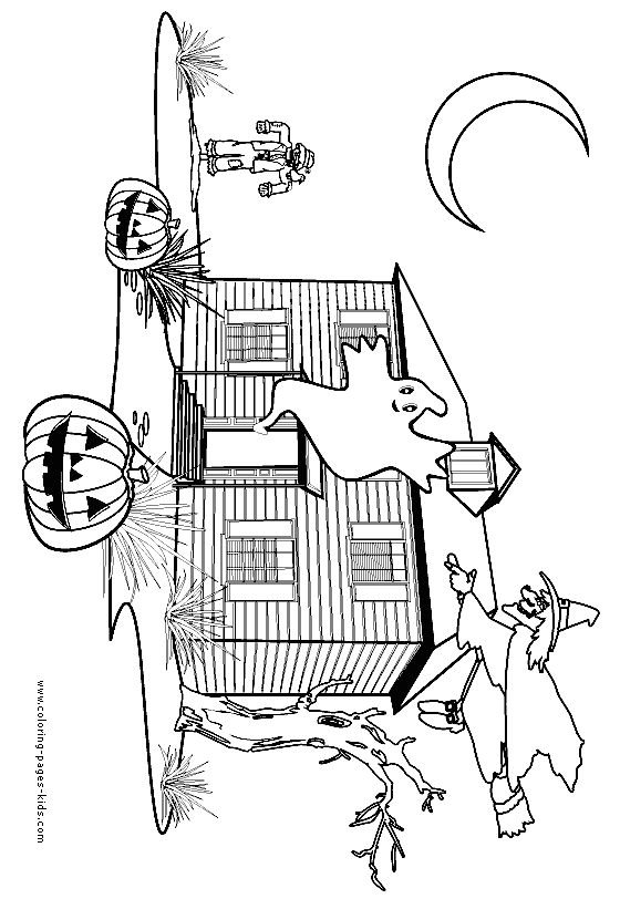 Halloween Coloring Pages Haunted House 13