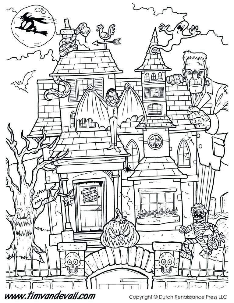 Halloween Coloring Pages Haunted House 14