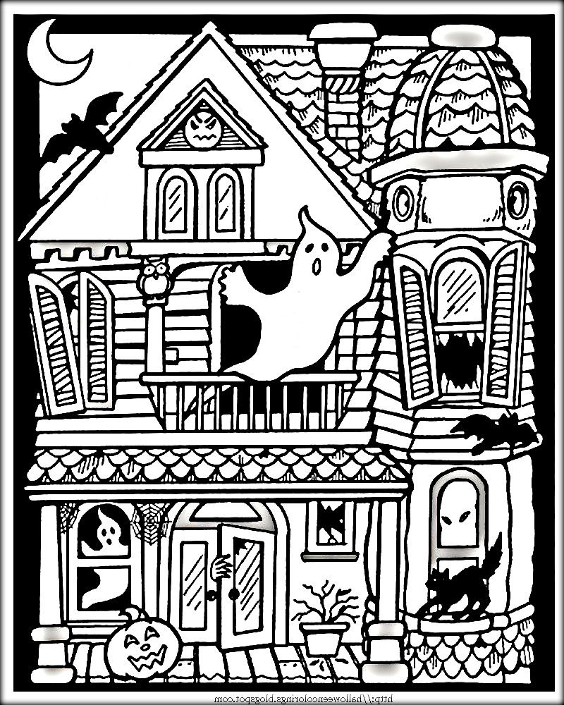 Halloween Coloring Pages Haunted House 18