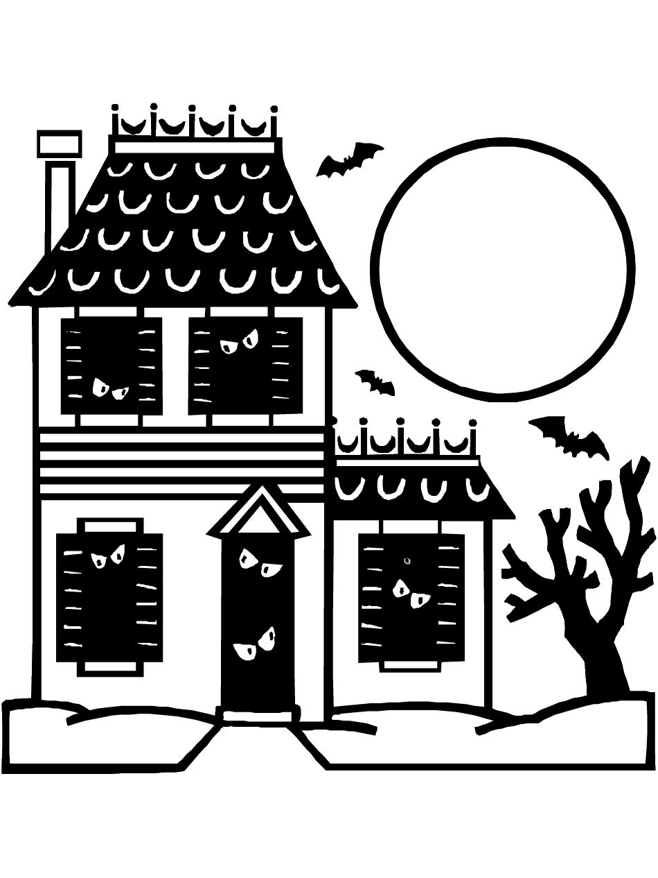 Halloween Coloring Pages Haunted House 2