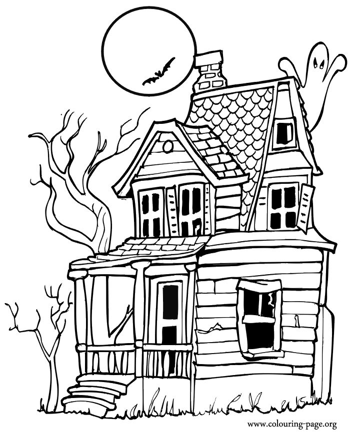 Halloween Coloring Pages Haunted House 20