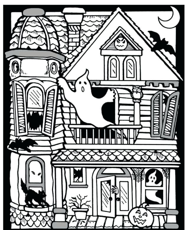 Halloween Coloring Pages Haunted House 23