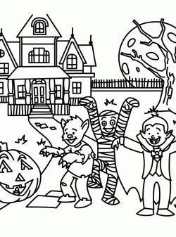 Halloween Coloring Pages Haunted House 24