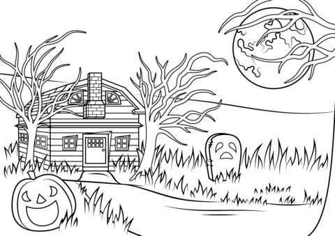 Halloween Coloring Pages Haunted House 25