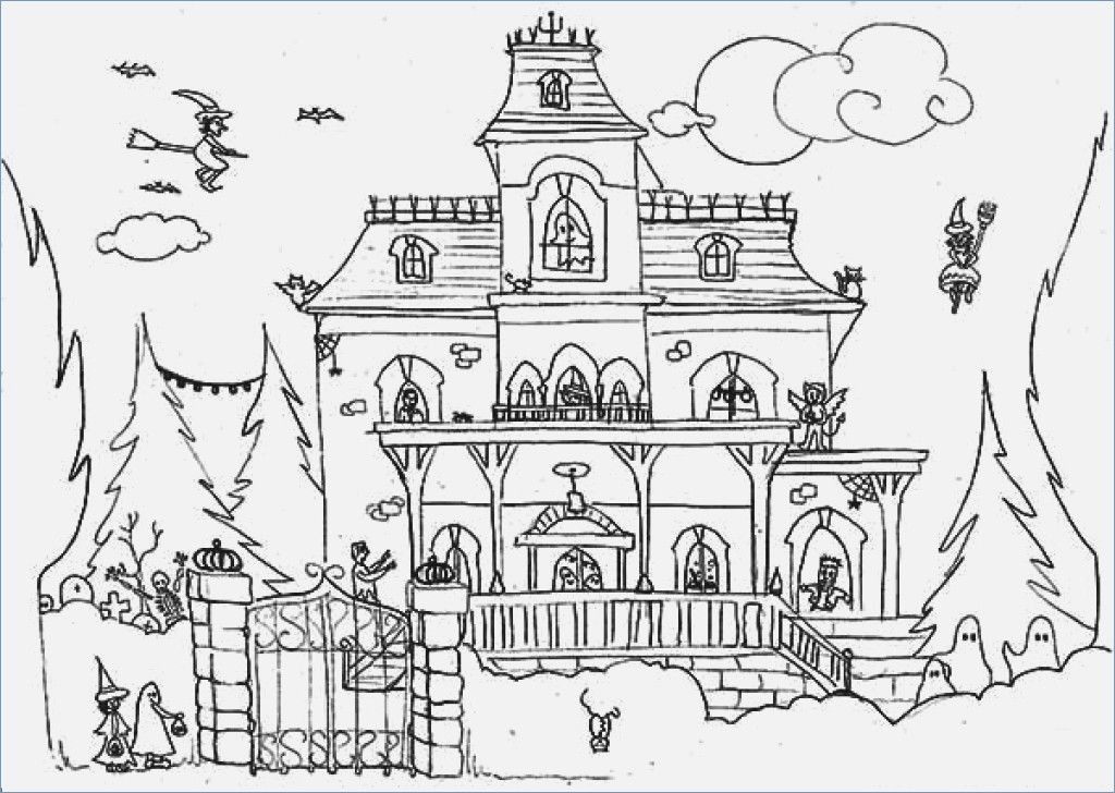 Halloween Coloring Pages Haunted House 26