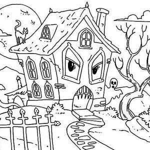 Halloween Coloring Pages Haunted House 27