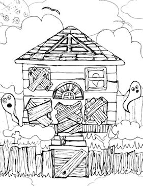 Halloween Coloring Pages Haunted House 29