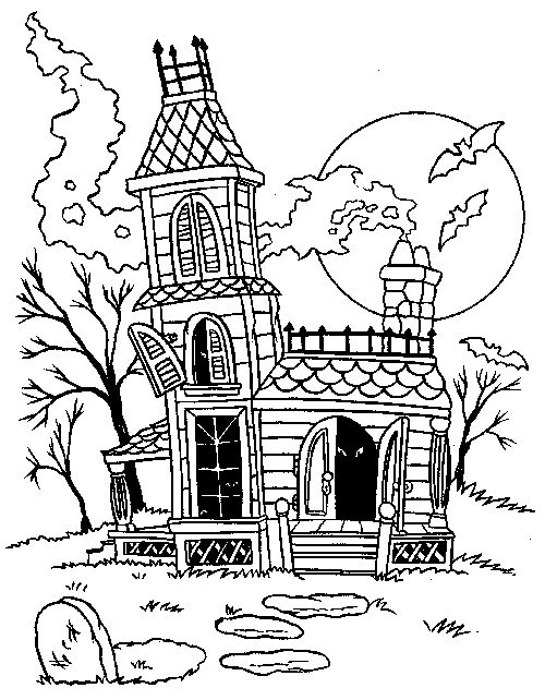 Halloween Coloring Pages Haunted House 3