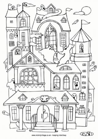 Halloween Coloring Pages Haunted House 30