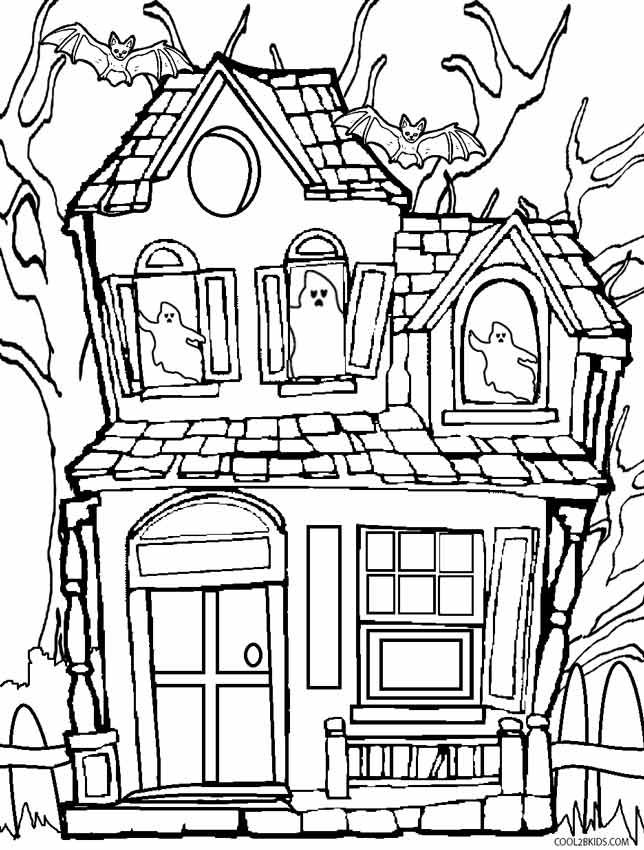 Halloween Coloring Pages Haunted House 34