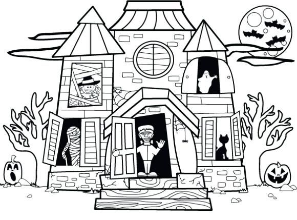 Halloween Coloring Pages Haunted House 35