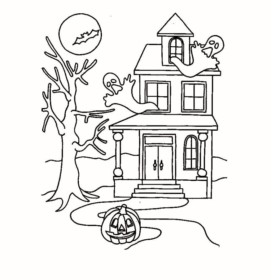 Halloween Coloring Pages Haunted House 37