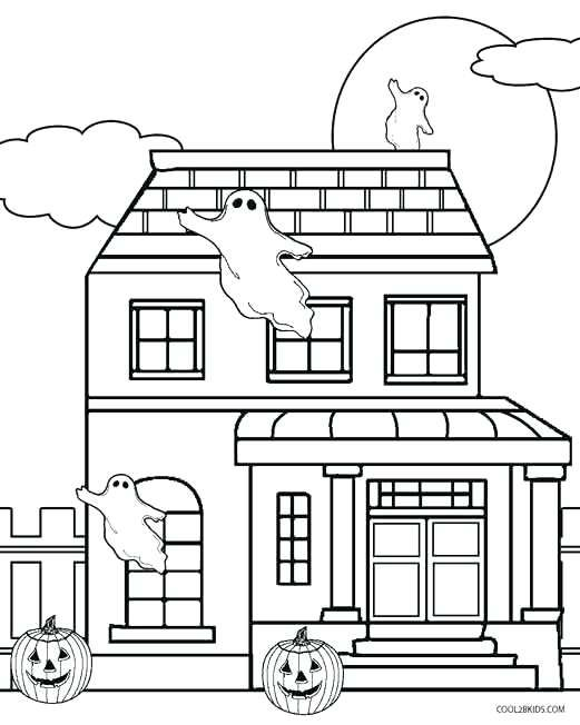 Halloween Coloring Pages Haunted House 38