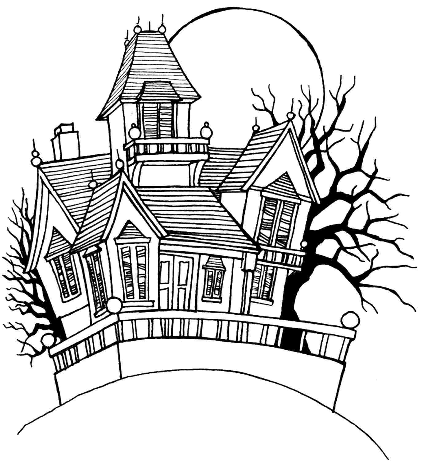 Halloween Coloring Pages Haunted House 4