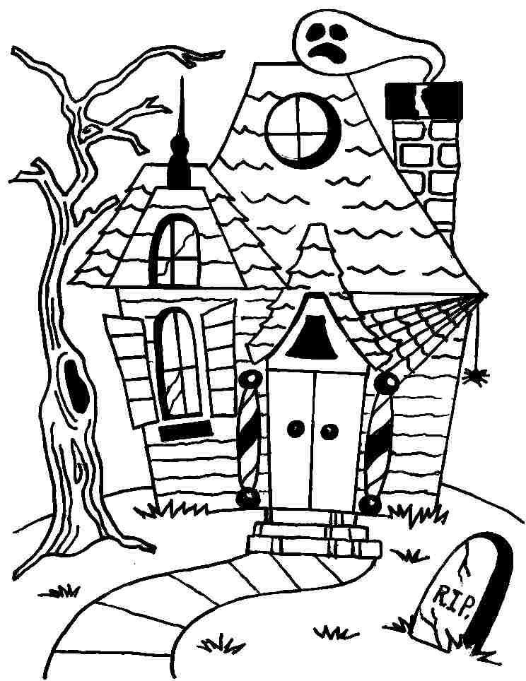 Halloween Coloring Pages Haunted House 40