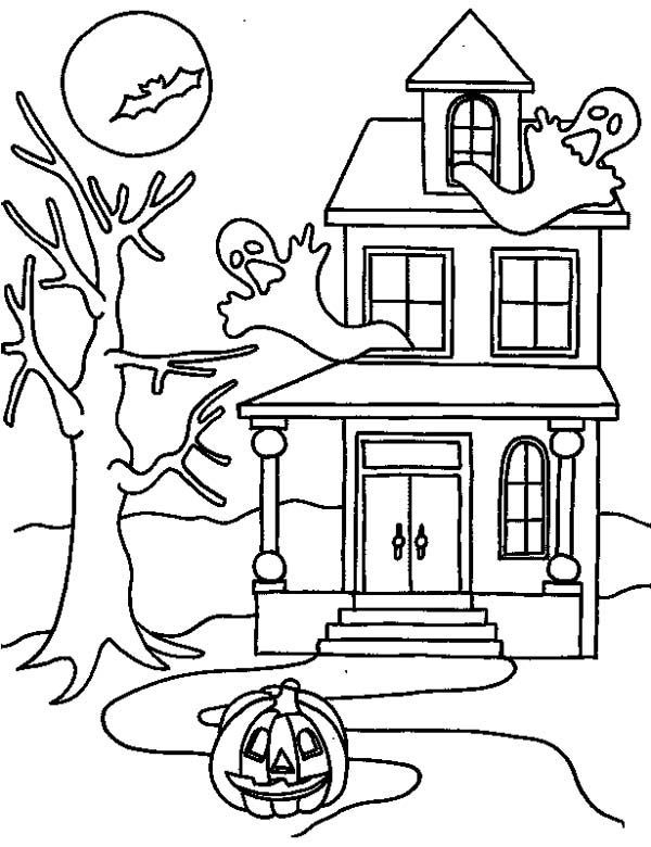 Halloween Coloring Pages Haunted House 41