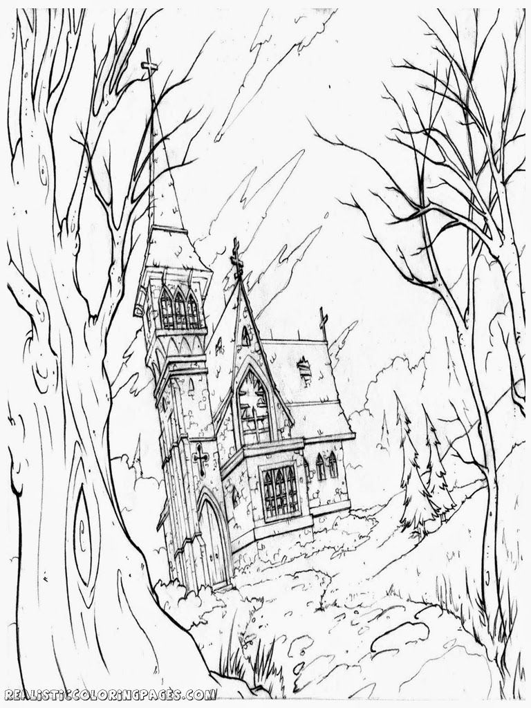 Halloween Coloring Pages Haunted House 42