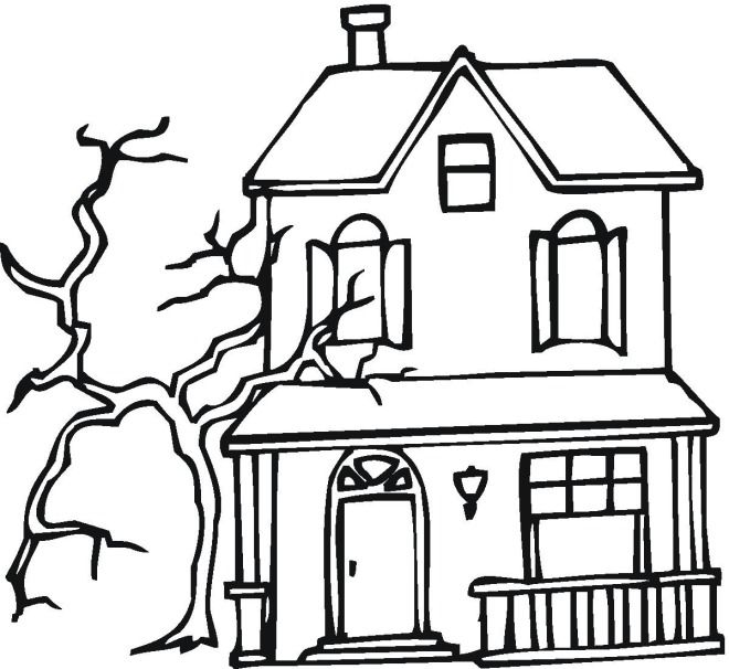 Halloween Coloring Pages Haunted House 43