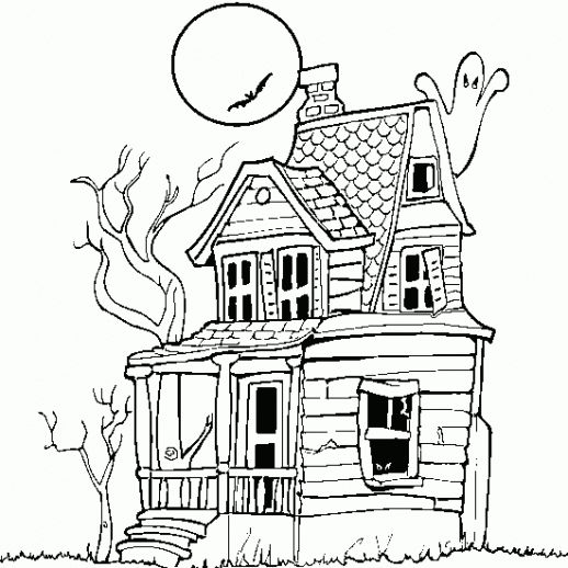 Halloween Coloring Pages Haunted House 44