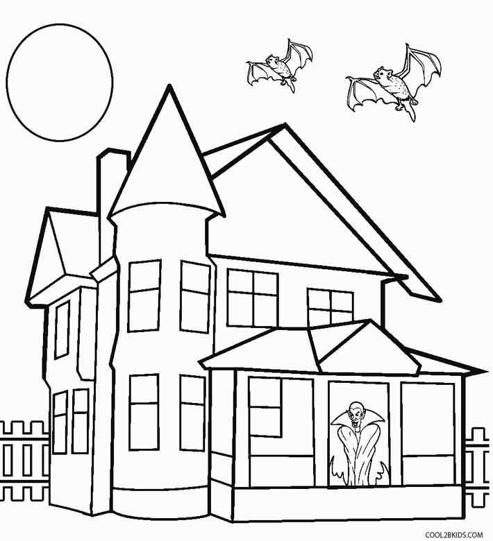 Halloween Coloring Pages Haunted House 45