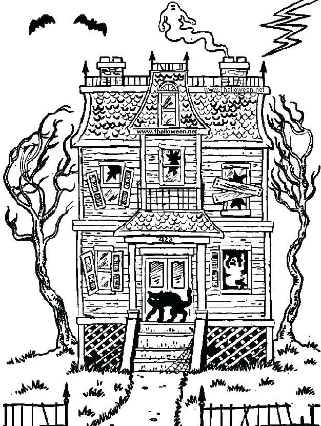 Halloween Coloring Pages Haunted House 46