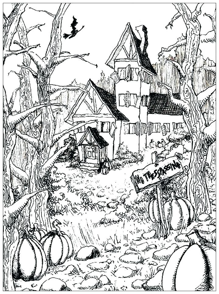 Halloween Coloring Pages Haunted House 47