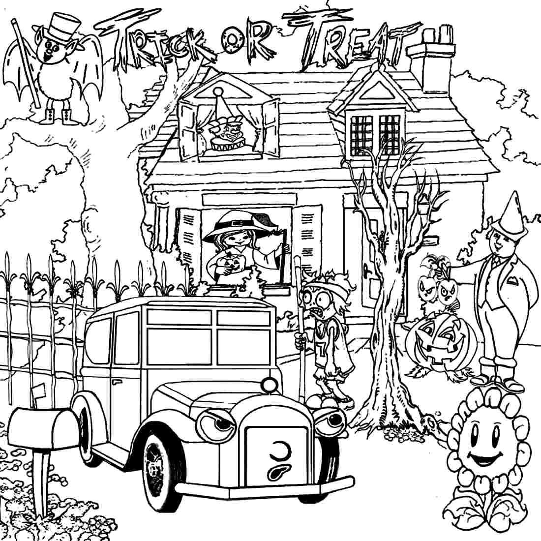 Halloween Coloring Pages Haunted House 50