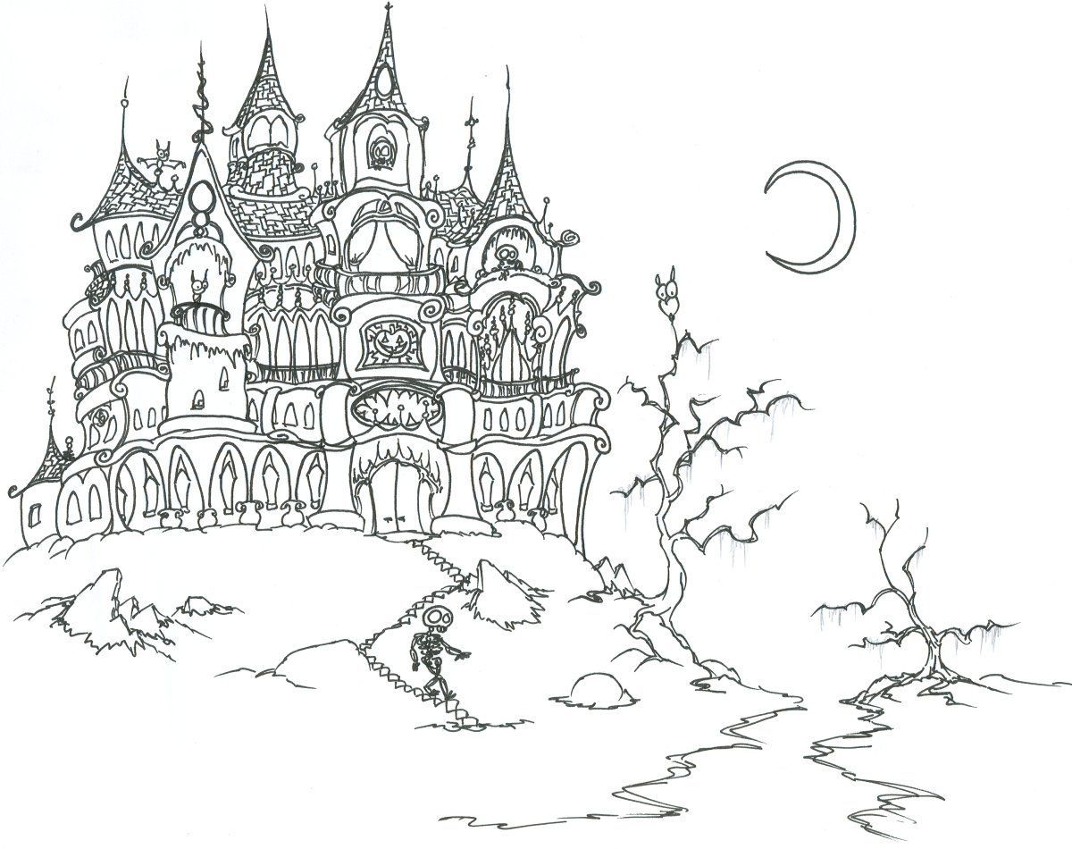 Halloween Coloring Pages Haunted House 6