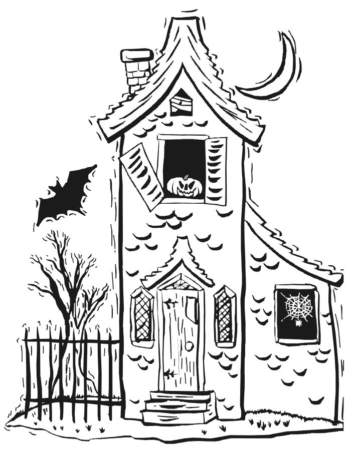 Halloween Coloring Pages Haunted House 8