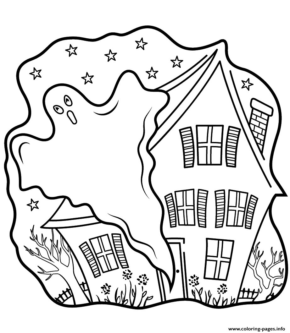 Halloween Coloring Pages Haunted House 9