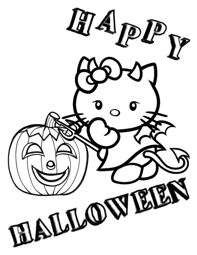 Hello Kitty Halloween Coloring Page 1