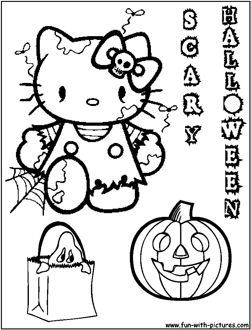 Hello Kitty Halloween Coloring Page 11