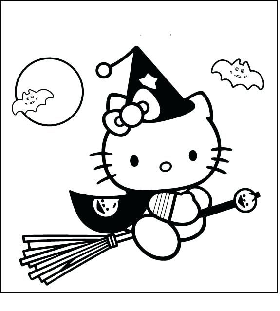 Hello Kitty Halloween Coloring Page 13