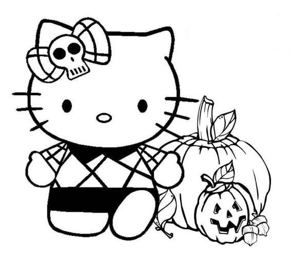Hello Kitty Halloween Coloring Page 14