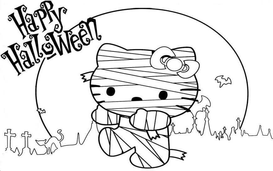Hello Kitty Halloween Coloring Page 16