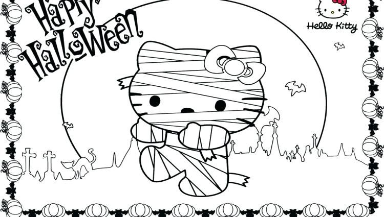 Hello Kitty Halloween Coloring Page 17