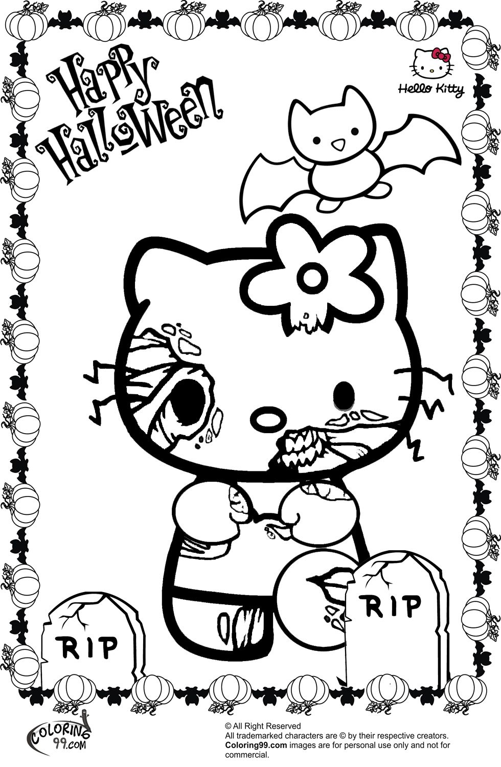 Hello Kitty Halloween Coloring Page 18