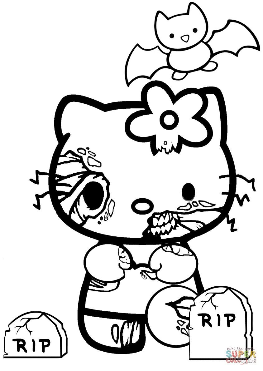 Hello Kitty Halloween Coloring Page Part 4