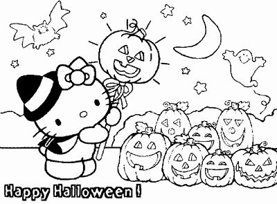 Hello Kitty Halloween Coloring Page 2