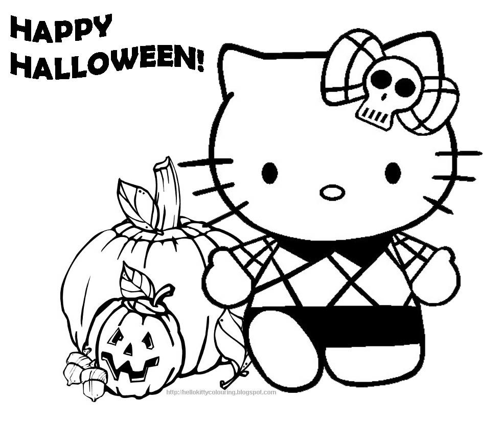 Hello Kitty Halloween Coloring Page Part 5