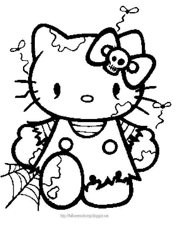 Hello Kitty Halloween Coloring Page 23