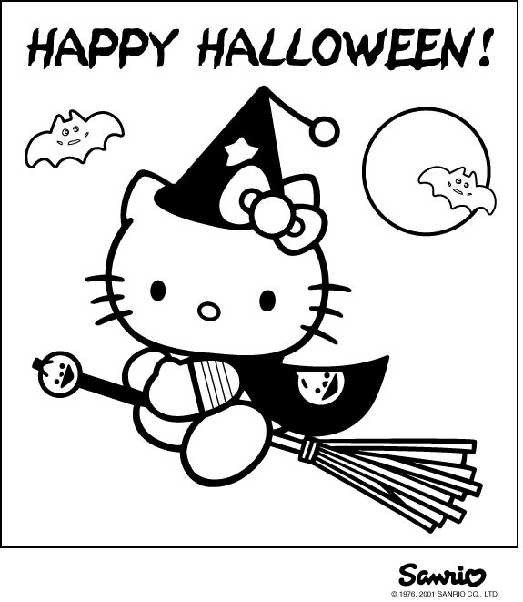 Hello Kitty Halloween Coloring Page 25