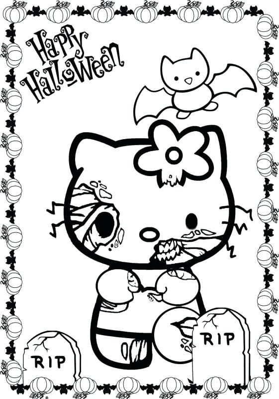 Hello Kitty Halloween Coloring Page 29