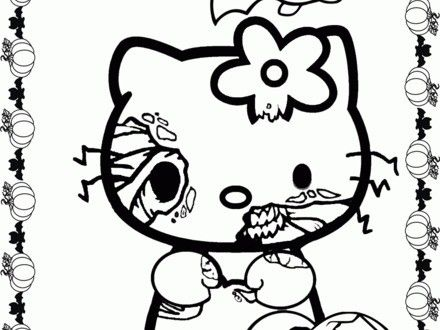 Hello Kitty Halloween Coloring Page 3