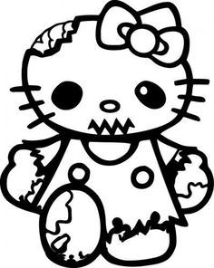 Hello Kitty Halloween Coloring Page 30
